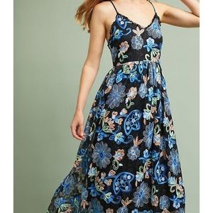 Anthropologie Eri+Ali Black Floral Midi Dress